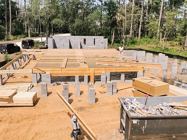 Framing and foundation for house