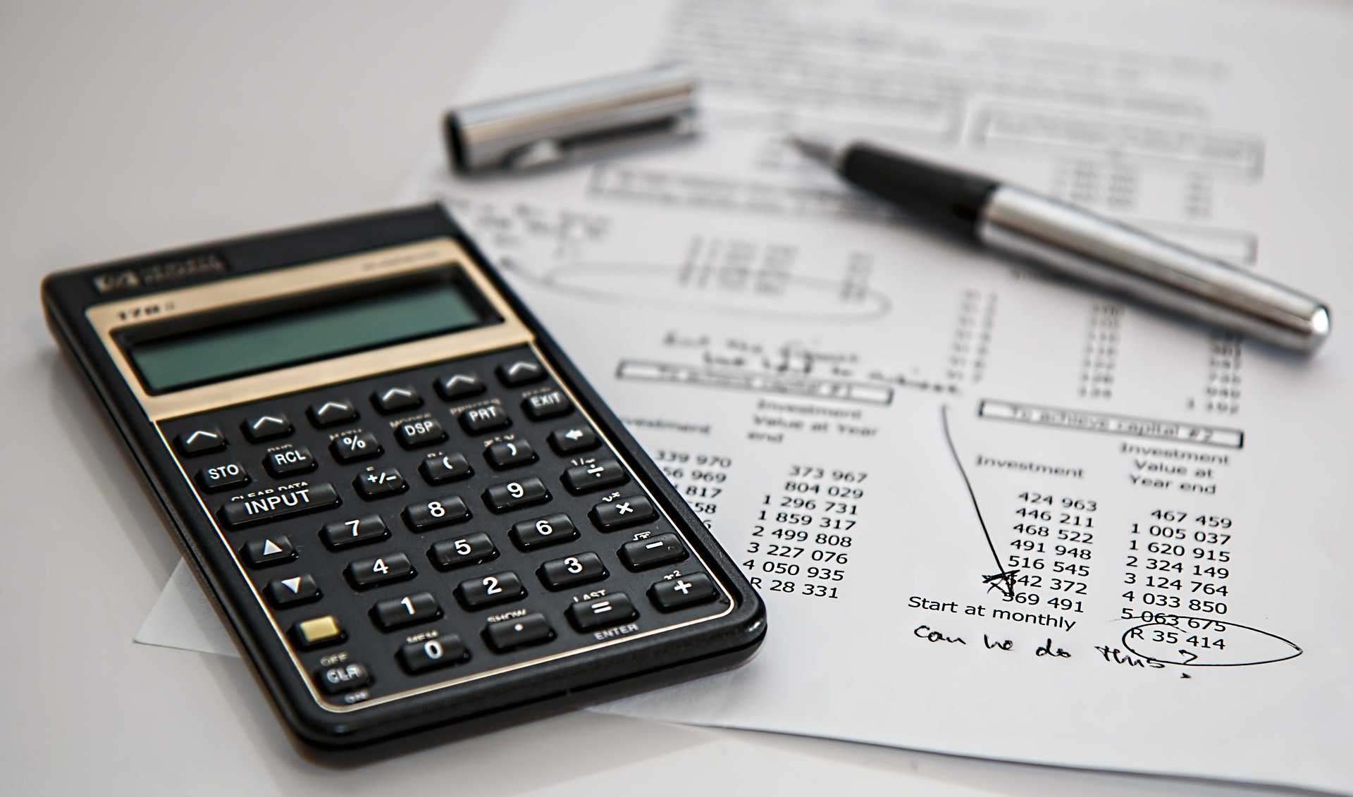 Calculator with calculations on paper