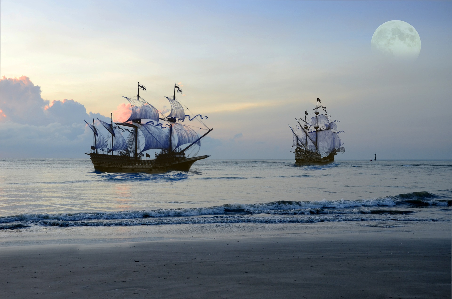 Two pirate ships